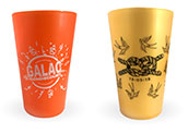 Reusable cups printed in silkscreen